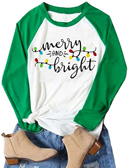 60ea2dfa Amazon.com: Merry and Bright Tee Shirts Top Women Long Sleeve Graphic  Christmas Raglan Baseball Tee Shirt Tops Plus Size: Clothing