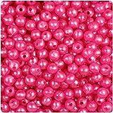 BEADTIN Hot (Dark) Pink Pearl 6mm Smooth Round Craft Beads (500pc)