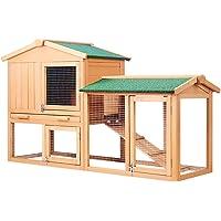 Rabbit Guinea Pig Hutch Wood Cage W/Trays Chicken Hen Ferret Coop Extension Run