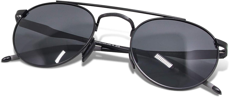WHCREAT Gafas De Sol Polarizadas Redondas Retro Unisexo Moda Estilo Vintage Ultraligero HD Lente AL-MG Marco para Hombre y Mujer
