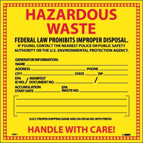 "NMC HW1 Hazardous Waste Container Label, ""HAZARDOUS WASTE"", 6"" Width x 6"" Height, Pressure Sensitive Vinyl, Red/Black on Yellow (Pack of 25)"