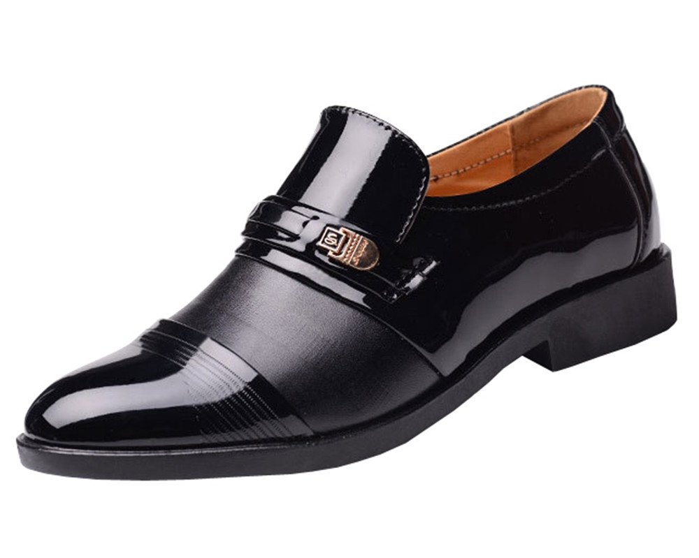 Mens Colorblocked Patent Leather Cap-Toe Oxfords Dress Shoes with Single Monk Strap(12, Black)