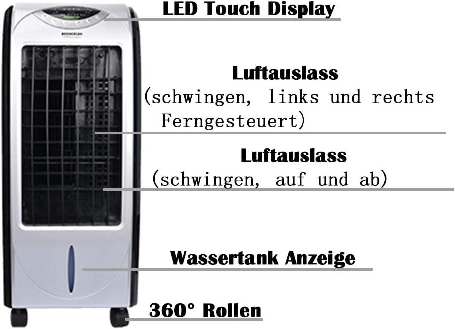 Lumiereholic Climatiseur Portable Mini Refroidisseur dair Ventilateur Humidificateur Nettoyeur Filtre poussi/ère int/égr/é Humidificateur 4L avec 3 Niveaux de Vitesse
