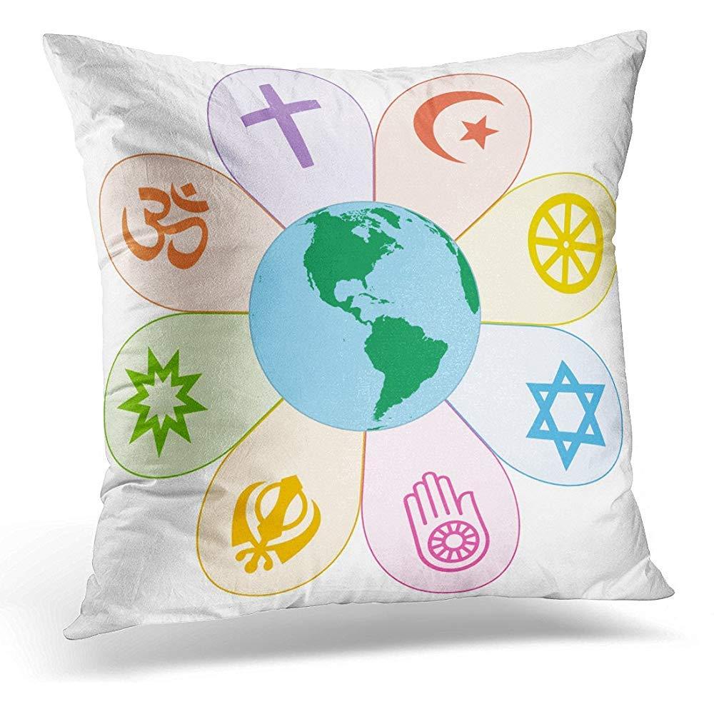 装飾用クッションカバー Ecumenism World Religions United on カラフルな花と地球の中央 白 Bahai 装飾枕ケース 正方形サイズ 18 x 18インチ ホームインテリア ソファクッションカバー   B07KN8KT4T