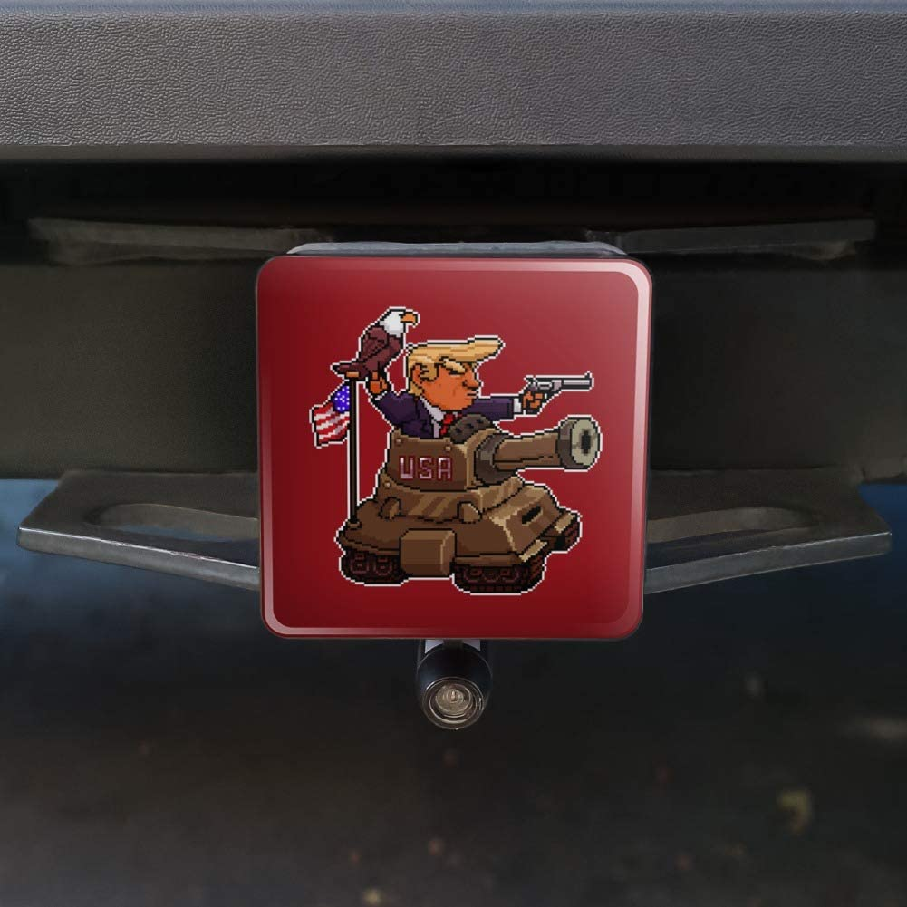 Graphics and More Patriotic Pixel Trump in Tank with American Eagle Flag Tow Trailer Hitch Cover Plug Insert