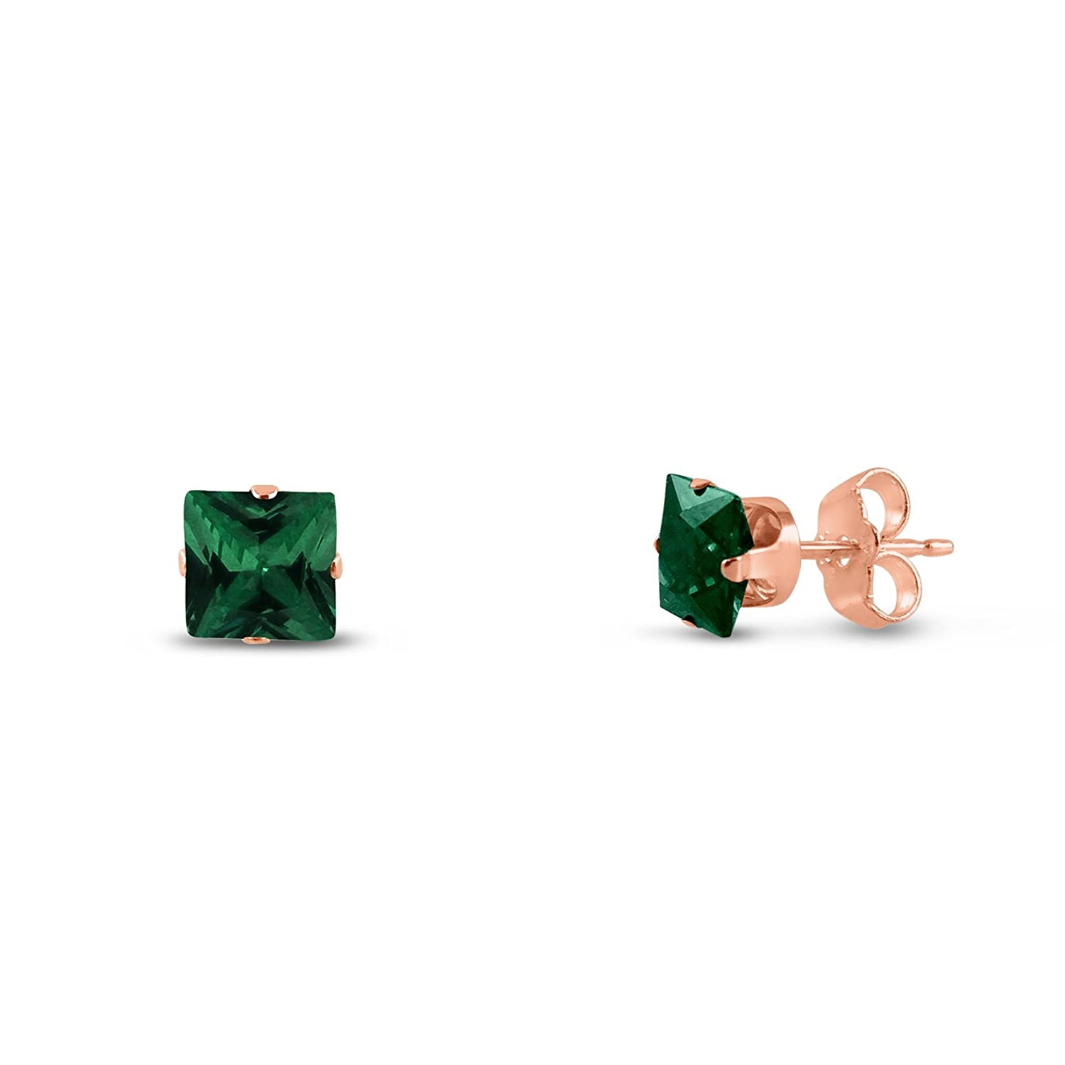 Square 3x3mm Simulated Emerald Green Rose Gold Plated Sterling Silver Stud Earrings