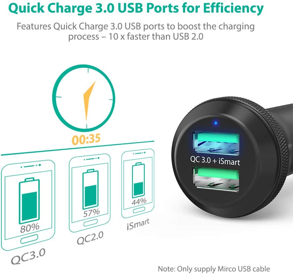 S8 Black Note 10 Note 9 S9 Note 8 iPhone 11 Pro Max X XR XS Max and More Quick Charge 3.0 Car Charger RAVPower 40W 3A Car Adapter with Dual Qc USB Ports Compatible with Galaxy S10