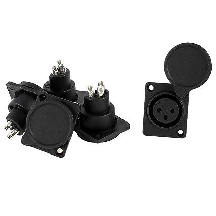 Amazon.com: 5 x Negro Cover XLR hembra Chasis de montaje en ...