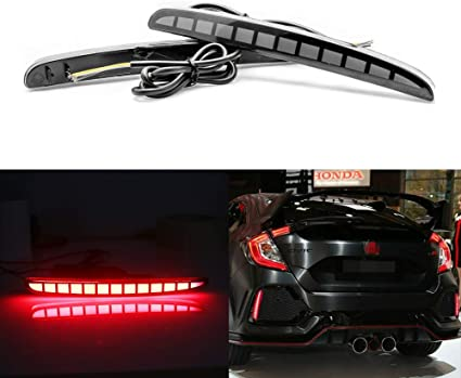 Type-R or SI 4-Door Sedan GTINTHEBOX Smoked Lens Full LED Bumper Reflector Lights Tail Brake Rear Fog Lamps for 2017-up Honda Civic Hatchback