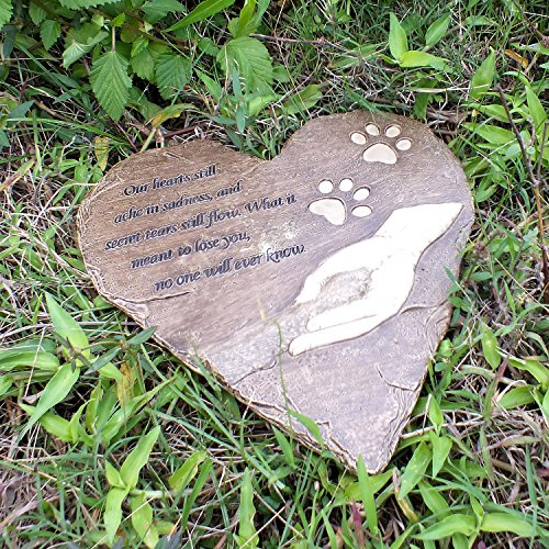 Izery Pet Memorial Stones Engraved Memorial Small Heart Garden Decoration Stone Garden