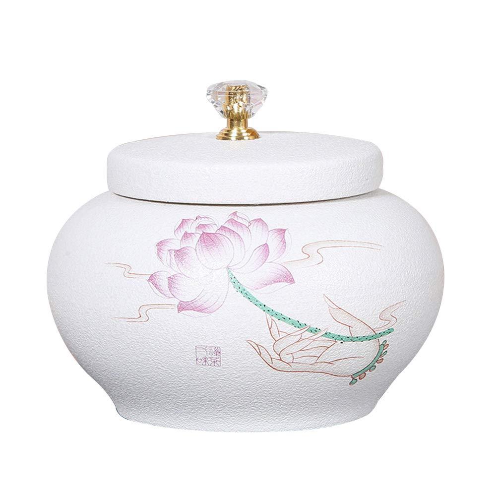 ZHJAMA Commemorative Container jar Ceramic Vintage urn Box Funeral Commemorative Container cans Artificial ash Adult pet Casket (A)