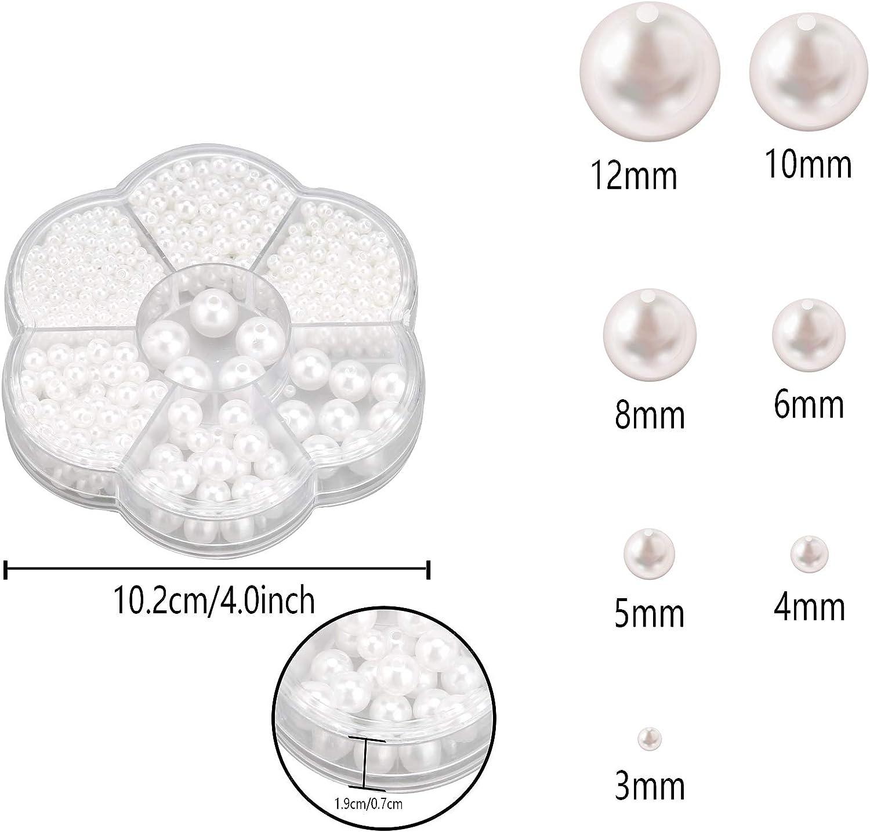 SAVITA 1150 St/ück 3//4//5//6//8//10//12mm Wei/ße Runde Perlen Perlen Satin Lose Abstandsperlen f/ür DIY Craft Halsketten Armb/änder Ohrringe Ringe Schmuckherstellung