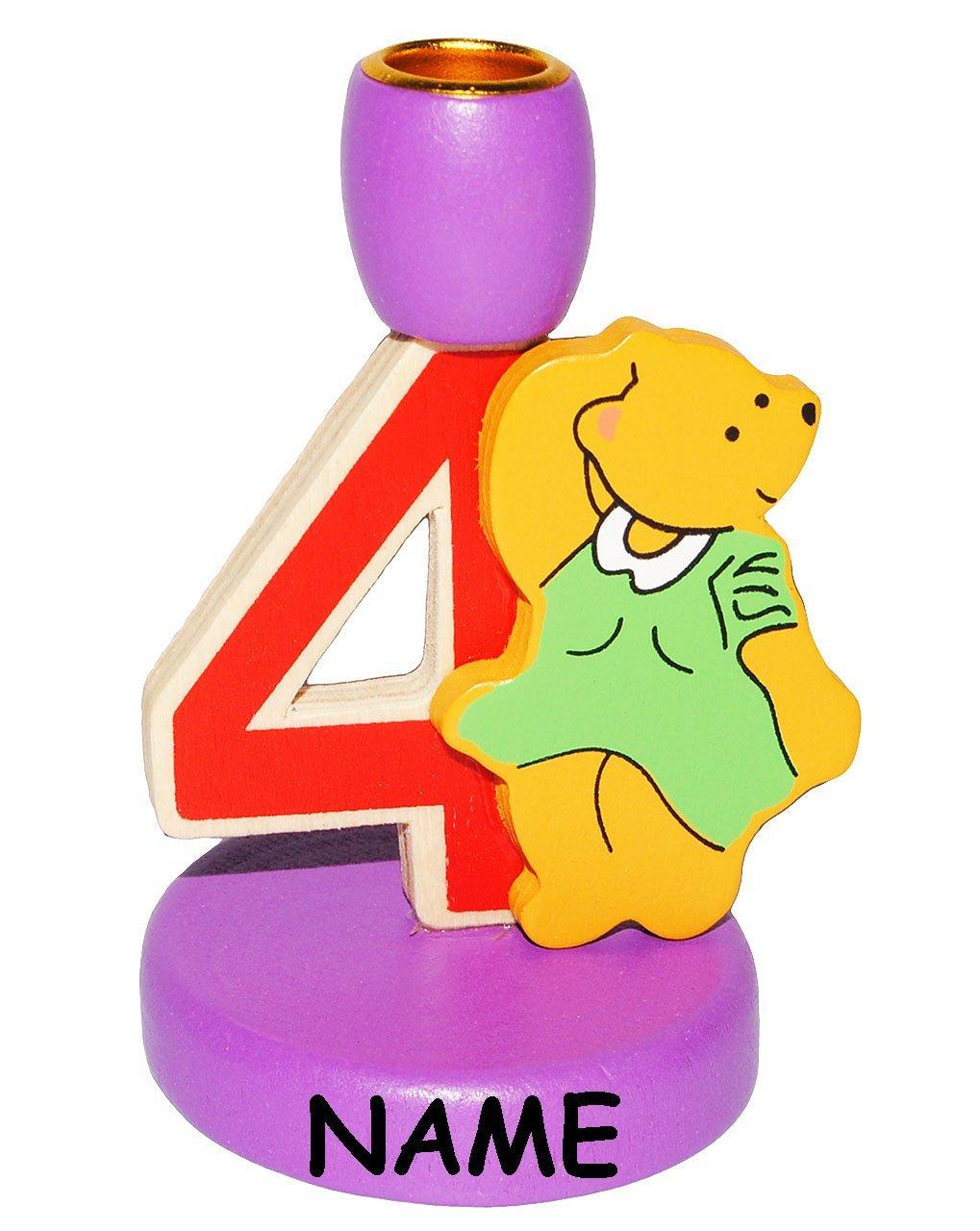 f/ür Kerzen 4 incl aus Holz Geburtstagszahl Unbekannt Kerzenhalter Geburtstag Kinder bunt Zahl 4 Teddy Name Geburt.. Kerzenst/änder zum Aufstellen
