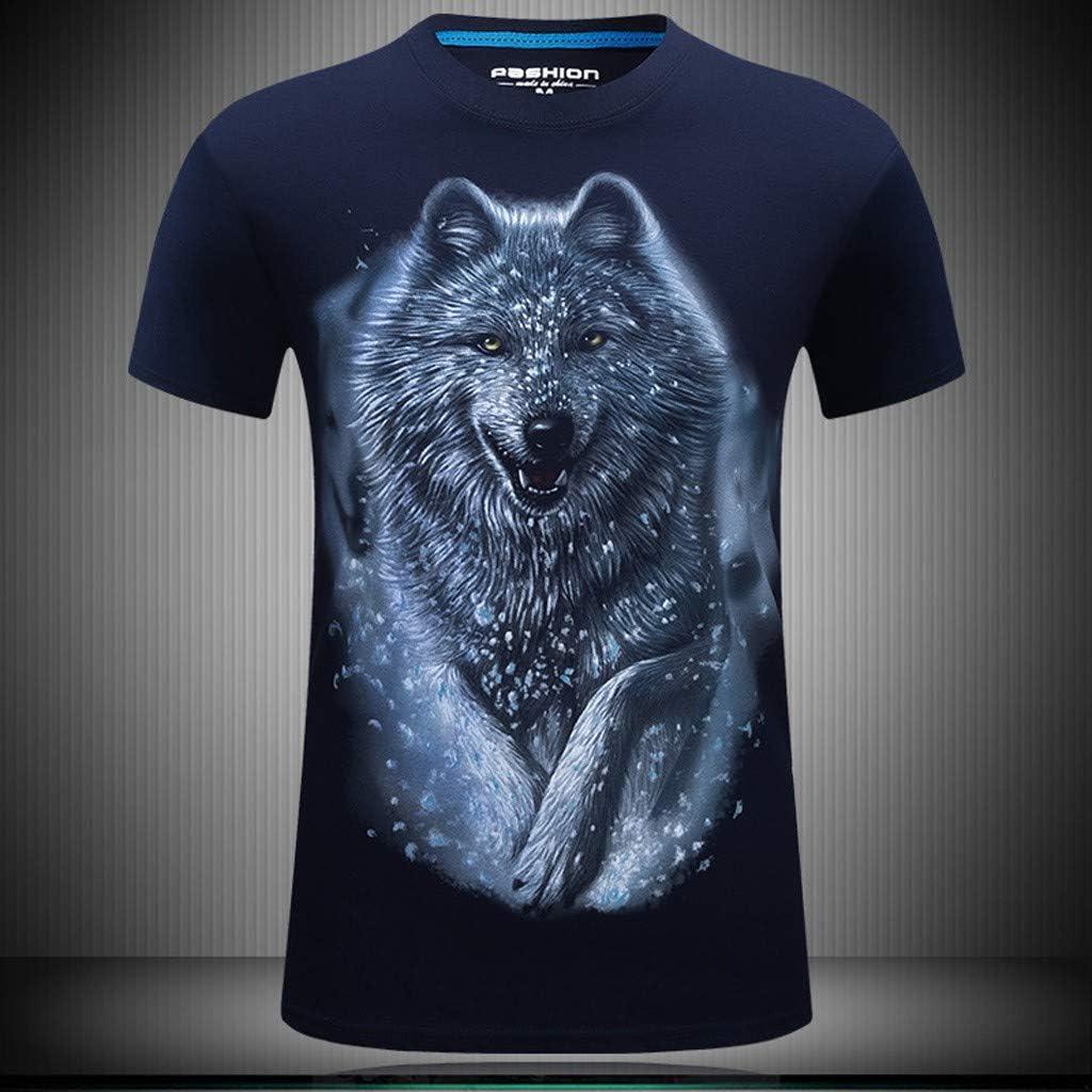 iLXHD Men T-Shirts Casual Summer Flag Print Short Sleeve Crewneck Tops Blouse T-Shirts