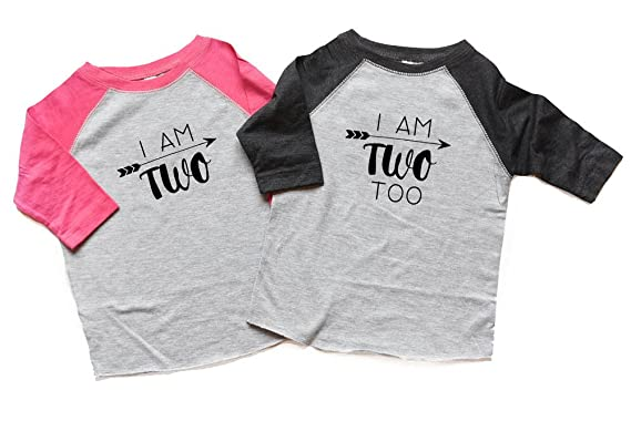 Amazon Twin Two Birthday Shirts Raglan Boy And Girl I Am Too Twins 2nd Bday Tshirts Second Clothing