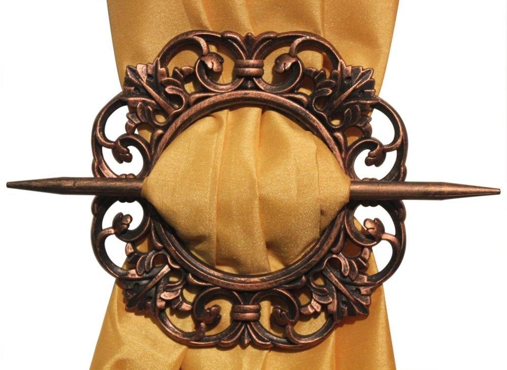 IndiaBigShop Wooden Handmade Window Curtain Tiebacks, Curtain Holder, Carving Round Shape HoldBacks