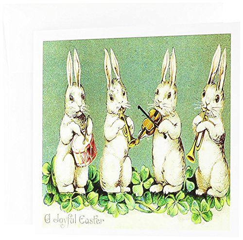 (3dRose Vintage Bunnies Wish A Joyful Easter - Greeting Cards, 6 x 6 inches, set of 12 (gc_100675_2))