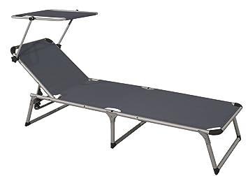 Gartenliege dach  Amazon.de: Gartenliege Dreibeinlige XL Liege Alu mit Dach extra hoch ...
