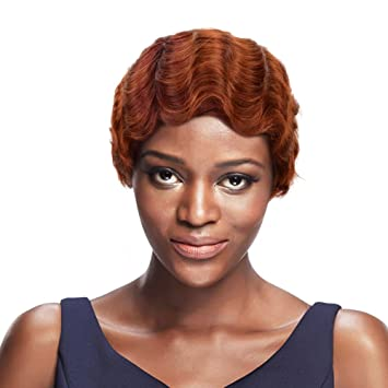 Sleek Mommy Wig Short Finger Wave With Brazilian Remy Hair Red Omober Corlor Short Cut Wigs For Black