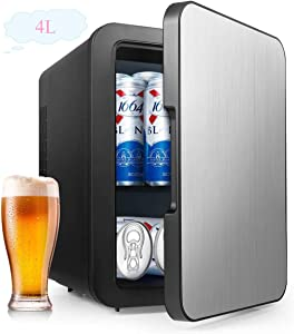 Mini Fridge with Cooler and Warmer, 4 Liter Large Capacity Portable Compact Fridge, Super Quiet In-Vehicle Freezer for Cars, Homes, Offices, and Dorms