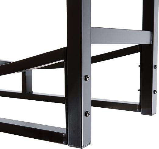 Color Negro DOEWORKS Estante para le/ña de Uso Pesado con Soporte para le/ña 76,2 cm de Alto
