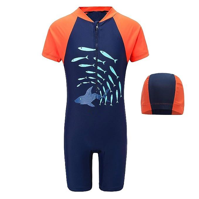 1ffa6000fe3db HowJoJo Baby Boys One Piece Swimsuits Short Sleeve Rash Guard Shirt Bathing  Suits Blue 2T