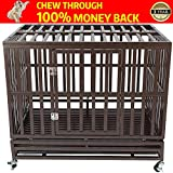 HAIGE PET Your Pet Nanny Heavy Duty Dog Cage Kennel Crate Playpen Metal Strong for Medium and Large Dogs Outdoor Waterproof with Lockable Wheels, Easy to Assemble, 42''