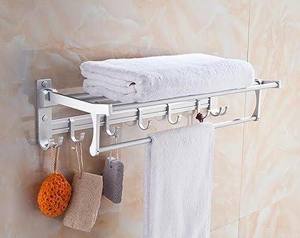 XXTT-Aluminio de espacio de baño toalla toalla doblada de la barra, ganchos sólidos