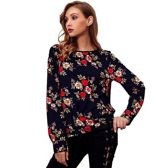Yvelands Moda Femenina Elegante Hermoso O-Cuello Blusa Manga Larga Ocasional de la Llamarada Camisa