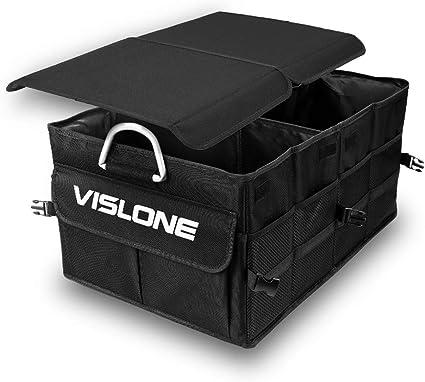 Amazon.es: VISLONE Organizador Maletero Coche, Organizador Coche Plegable Impermeable con Compartimentos, Multifunción Oxford Bolsillos de Tela 60L Gran Capacidad Caja de Almacenamiento