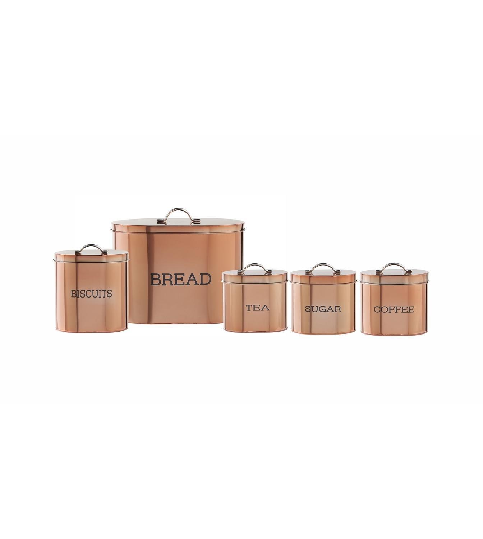 5-Piece Copper Colour Oval Storage Set E.G.L