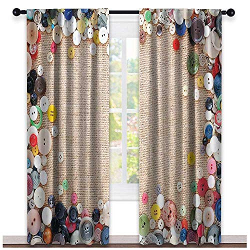 Pleated Button Valance - hengshu Vintage, Country Curtains Valance, Buttons Collection Fabric Texture Canvas Frame Sewing Needlecraft Contemporary Picture, Curtains for Living Room, W72 x L84 Inch Light Brown