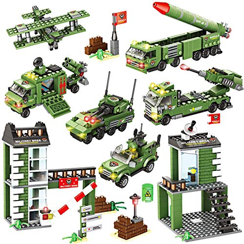 WishaLife 1219 Pieces City Police Station Building Kit, City Sets, Police Car Toy, Army Military Base Building Toy with Military Vehicles, Missile Truck, Tank with Storage Box for Boys and Girls 6-12