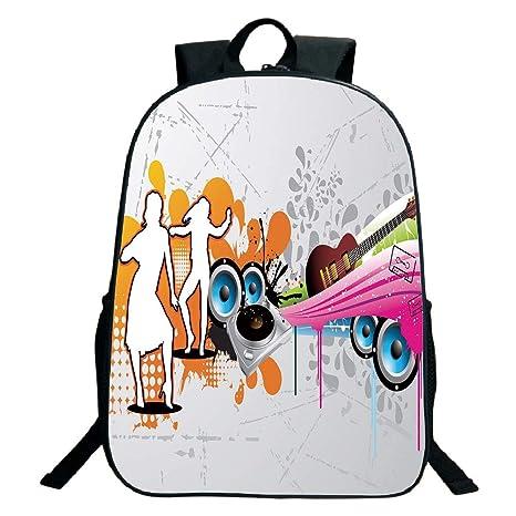 7bb560093b3c Amazon.com: 3D Print Design Black School Bag,backpacksGrunge,Music ...