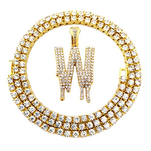 HH Bling Empire Iced Out Hip Hop Gold Faux Diamond Bubble Dripping Letter Tennis Chain Necklace 20 Inch (Dripping Letter W)