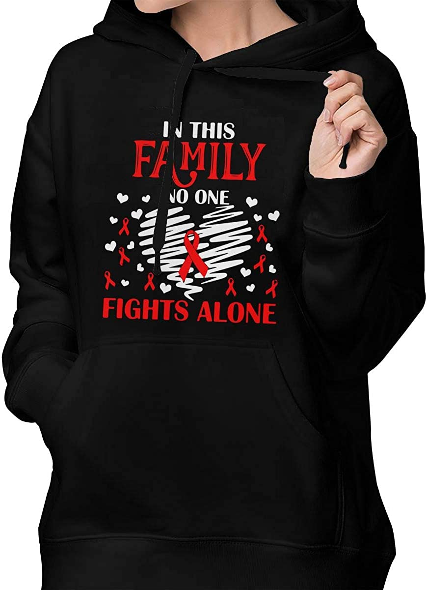 in This Family No One Fights Alone Womens Hoodie Pullover Fleece Sweatshirt with Pocket