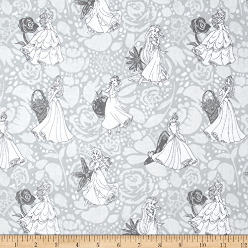 Disney Princess Line Drawing Grey Fabric By The Yard