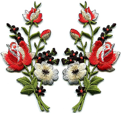 - 2.25 inches x 4.5 inches Red black roses pair flowers floral bouquet boho embroidered appliques iron-ons patches