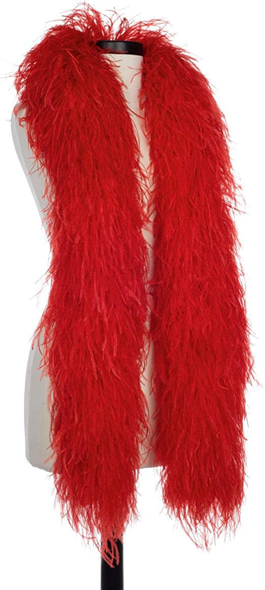 """Bridal//Costume//Hats 2 Yards OSTRICH FEATHER BOA RED//BLACK 4 Ply Two-Tone 72/"""""""
