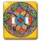 3dRose LSP_278313_2 Colorful Handmade Patterns of a Ceramic Plate, Guanajuato, Mexico Toggle Switch, Mixed