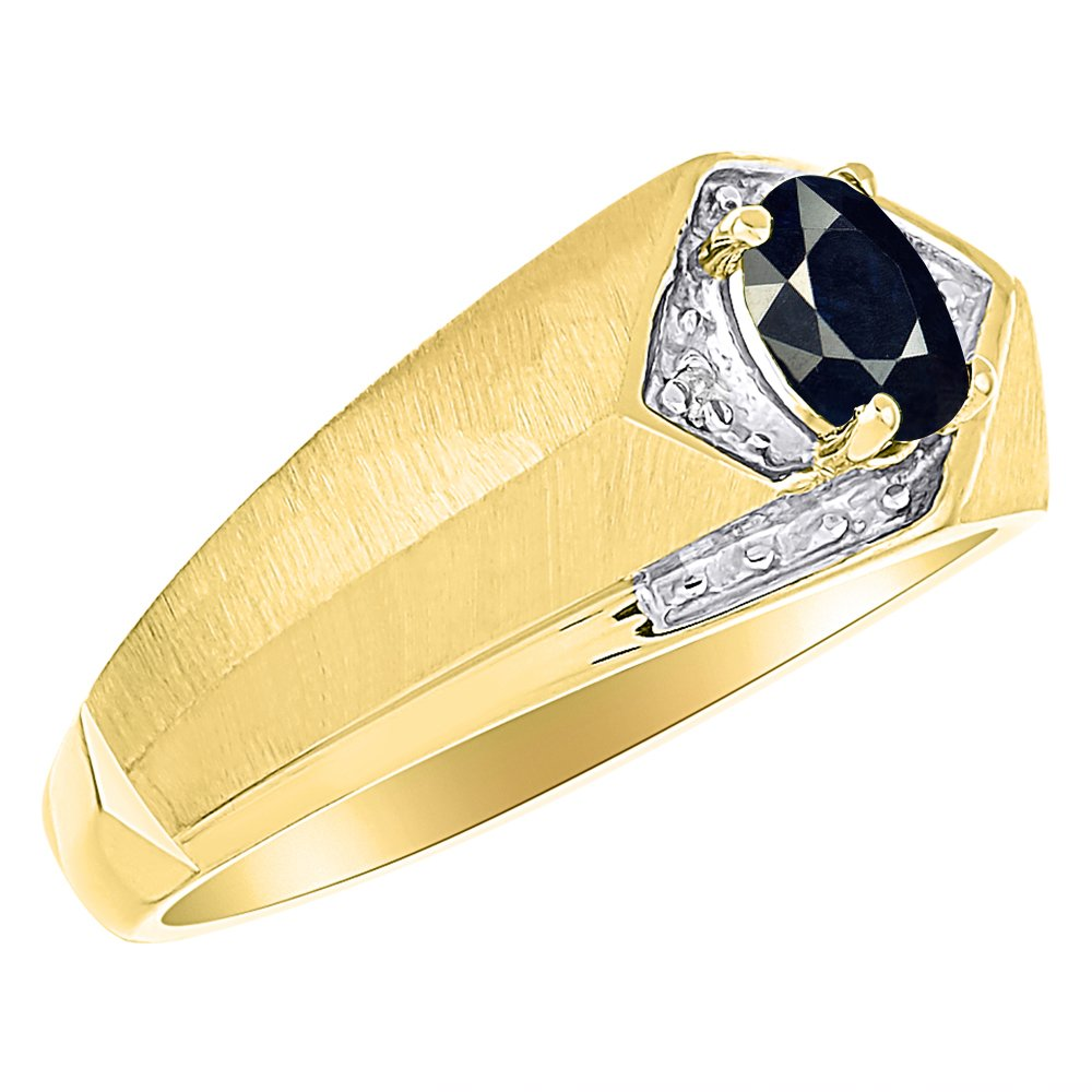 Sapphire /& Diamond Ring Sterling Silver or Yellow Gold Plated Silver
