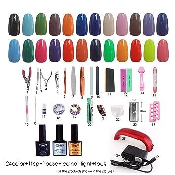 Amazon.com : NDDN - UV Gel Nail Tools Kits With LED UV Lamp Nail ...