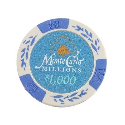 10pcs Monte Carlo Jetons De Poker Etiquette De Casino Chips avec Valeur Dollar 1-10000 - 1000, /