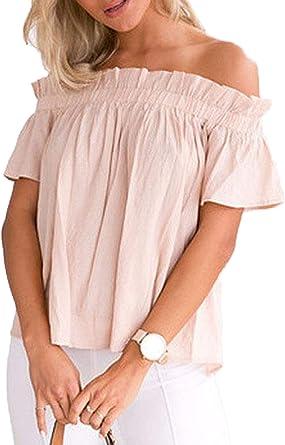 Blusas Elegantes Moda Camisa Mujer Modernas Manga Casual Verano Casuales Corta Barco Cuello Color Sólido Sin Tirantes Plisado Anchos Casual Camisas Moda Joven Outdoor Shirts: Amazon.es: Ropa y accesorios