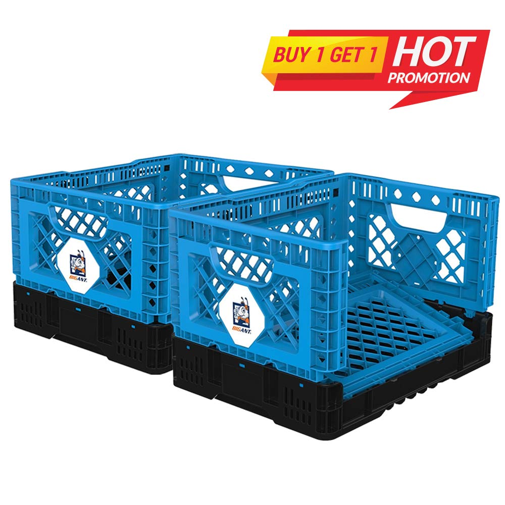 BIGANT Heavy Duty Collapsible & Stackable Plastic Milk Crate - IP403026, 26 Quarts, Small Size, Set of 2, Snap Lock Foldable Industrial Garage Storage Bin Container Utility Basket by BIGANT