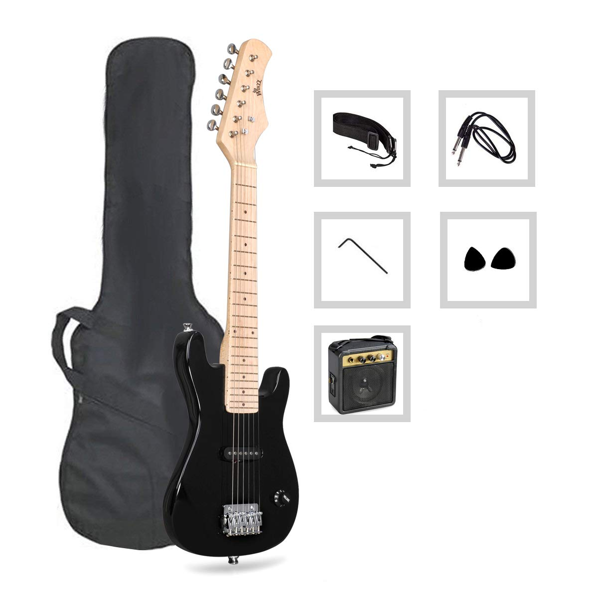 30'' Mini Electric Guitar for Kids with Gig Bag, Cable, Strap, 2 Picks, Amplifier and Wrench