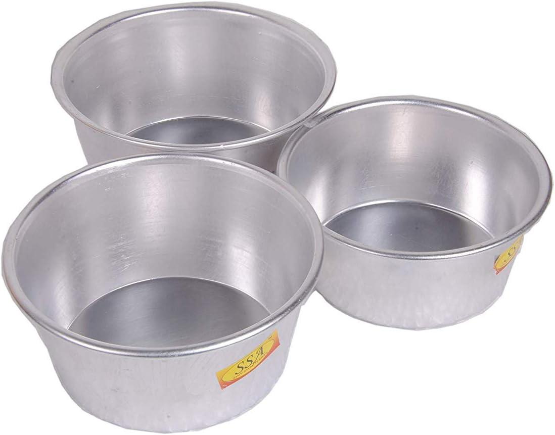SHIV SHAKTI ARTS Handmade Pure Aluminum Donga patila Bowl Ice Try for Homeware hotelware and Fridge Purpose Round Bowl Plane Design Vintage Look:: Combo of 3