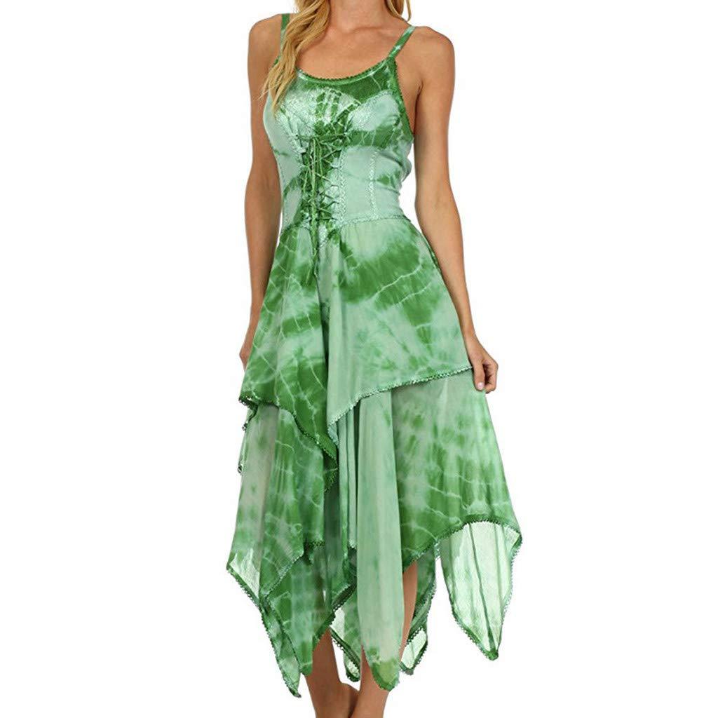COOKI Women Dresses Irregular Tie Dye Sleeveless Lace Up Corset Bodice Handkerchief Hem Dress Summer Beach Sun Dress Green by COOKI Women Dresses