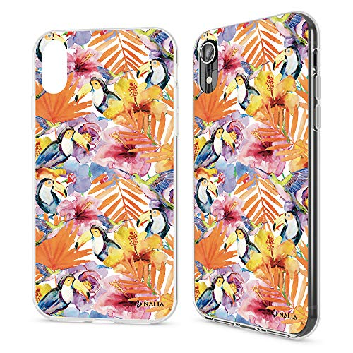 NALIA Motif Case Compatible with iPhone XR, Pattern Design Silicone Back Cover Protector Soft Skin, Crystal Gel Shockproof Smart-Phone Bumper Slim Transparent Protective, Designs:Toucan ()