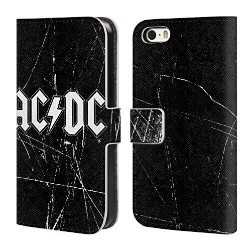 Officiel AC/DC ACDC Blanc Logo Étui Coque De Livre En Cuir Pour Apple iPhone 5 / 5s / SE